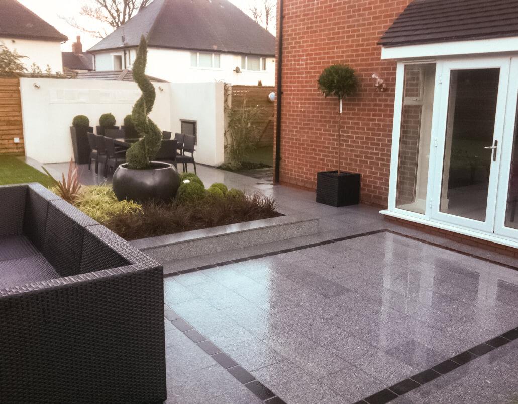 Grey garden paving, modern design